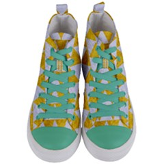 Triangle2 White Marble & Yellow Marble Women s Mid Top Canvas Sneakers