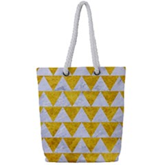 Triangle2 White Marble & Yellow Marble Full Print Rope Handle Tote (small) by trendistuff