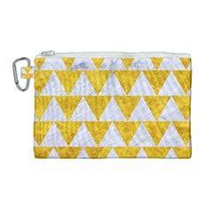 Triangle2 White Marble & Yellow Marble Canvas Cosmetic Bag (large) by trendistuff