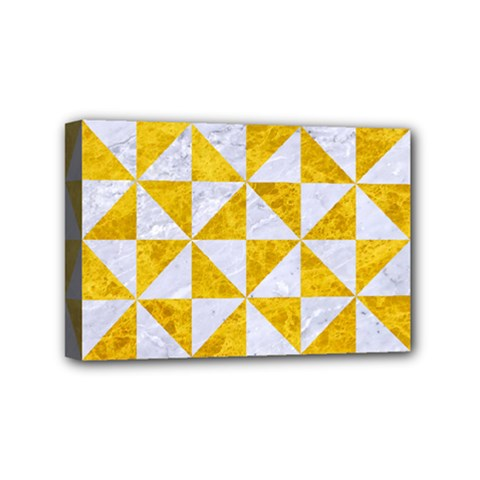 Triangle1 White Marble & Yellow Marble Mini Canvas 6  X 4  by trendistuff