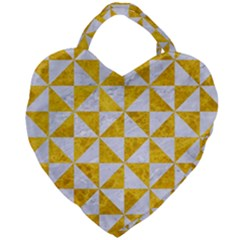 Triangle1 White Marble & Yellow Marble Giant Heart Shaped Tote