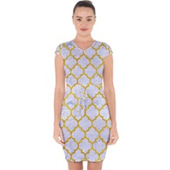 Tile1 White Marble & Yellow Marble (r) Capsleeve Drawstring Dress