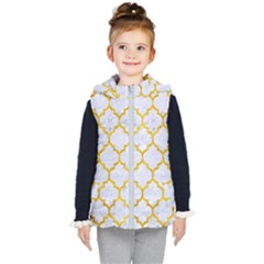 Tile1 White Marble & Yellow Marble (r) Kid s Puffer Vest