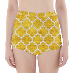 Tile1 White Marble & Yellow Marble High Waisted Bikini Bottoms