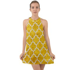 Tile1 White Marble & Yellow Marble Halter Tie Back Chiffon Dress
