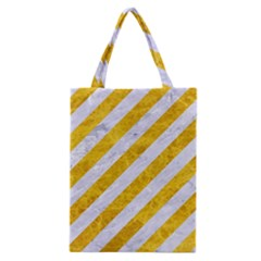 Stripes3 White Marble & Yellow Marble (r) Classic Tote Bag by trendistuff