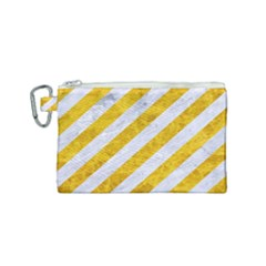 Stripes3 White Marble & Yellow Marble (r) Canvas Cosmetic Bag (small)