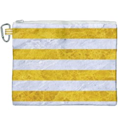Stripes2white Marble & Yellow Marble Canvas Cosmetic Bag (xxxl) by trendistuff