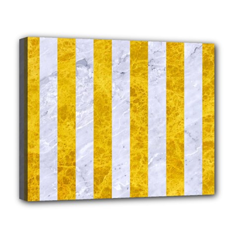 Stripes1 White Marble & Yellow Marble Deluxe Canvas 20  X 16   by trendistuff