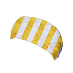 Stripes1 White Marble & Yellow Marble Yoga Headband by trendistuff