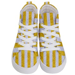 Stripes1 White Marble & Yellow Marble Kid s Hi Top Skate Sneakers