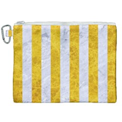 Stripes1 White Marble & Yellow Marble Canvas Cosmetic Bag (xxl) by trendistuff