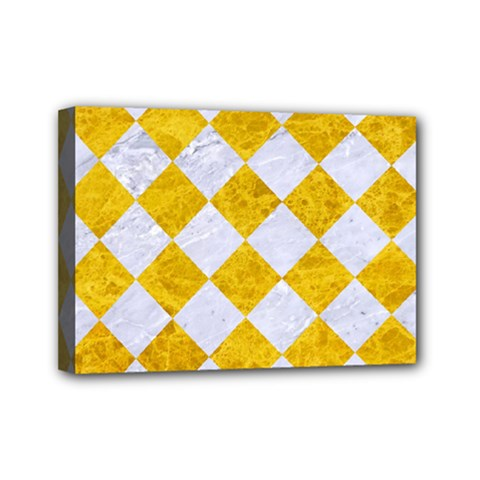 Square2 White Marble & Yellow Marble Mini Canvas 7  X 5