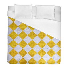 Square2 White Marble & Yellow Marble Duvet Cover (full/ Double Size)