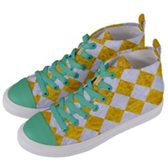 Square2 White Marble & Yellow Marble Women s Mid Top Canvas Sneakers by trendistuff