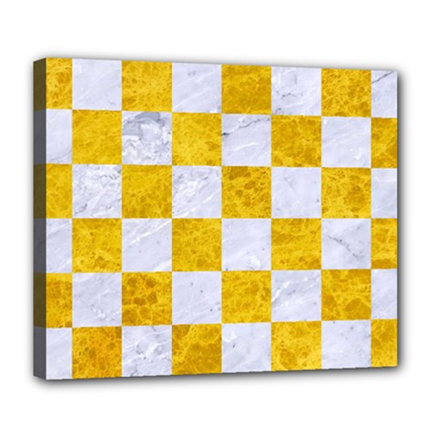 Square1 White Marble & Yellow Marble Deluxe Canvas 24  X 20   by trendistuff
