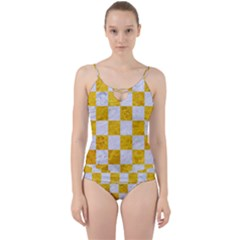 Square1 White Marble & Yellow Marble Cut Out Top Tankini Set