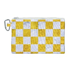 Square1 White Marble & Yellow Marble Canvas Cosmetic Bag (large) by trendistuff