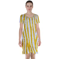 Skin4 White Marble & Yellow Marble (r) Short Sleeve Nightdress by trendistuff