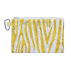 Skin4 White Marble & Yellow Marble Canvas Cosmetic Bag (large) by trendistuff