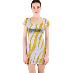 Skin3 White Marble & Yellow Marble (r) Short Sleeve Bodycon Dress by trendistuff