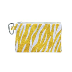 Skin3 White Marble & Yellow Marble Canvas Cosmetic Bag (small) by trendistuff