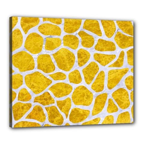 Skin1 White Marble & Yellow Marble (r) Canvas 24  X 20  by trendistuff