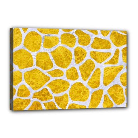 Skin1 White Marble & Yellow Marble (r) Canvas 18  X 12  by trendistuff