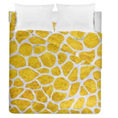 Skin1 White Marble & Yellow Marble (r) Duvet Cover Double Side (queen Size) by trendistuff