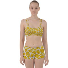Skin1 White Marble & Yellow Marble (r) Women s Sports Set