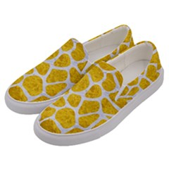 Skin1 White Marble & Yellow Marble (r) Men s Canvas Slip Ons by trendistuff