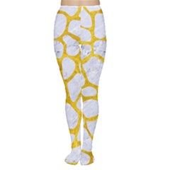 Skin1 White Marble & Yellow Marble Women s Tights by trendistuff