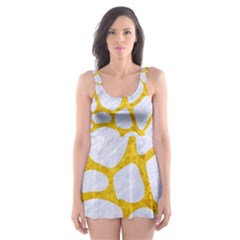 Skin1 White Marble & Yellow Marble Skater Dress Swimsuit by trendistuff