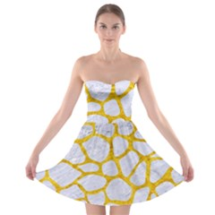 Skin1 White Marble & Yellow Marble Strapless Bra Top Dress