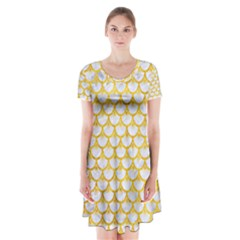 Scales3 White Marble & Yellow Marble (r) Short Sleeve V Neck Flare Dress