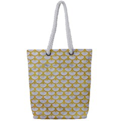 Scales3 White Marble & Yellow Marble (r) Full Print Rope Handle Tote (small) by trendistuff