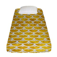 Scales3 White Marble & Yellow Marble Fitted Sheet (single Size) by trendistuff