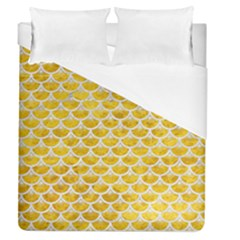 Scales3 White Marble & Yellow Marble Duvet Cover (queen Size) by trendistuff