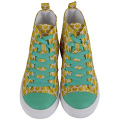 Scales3 White Marble & Yellow Marble Women s Mid Top Canvas Sneakers