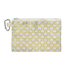 Scales2 White Marble & Yellow Marble (r) Canvas Cosmetic Bag (medium) by trendistuff