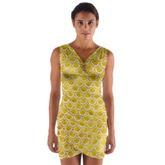 Scales2 White Marble & Yellow Marble Wrap Front Bodycon Dress by trendistuff