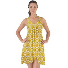 Scales2 White Marble & Yellow Marble Show Some Back Chiffon Dress