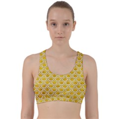 Scales2 White Marble & Yellow Marble Back Weave Sports Bra