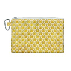 Scales2 White Marble & Yellow Marble Canvas Cosmetic Bag (large) by trendistuff