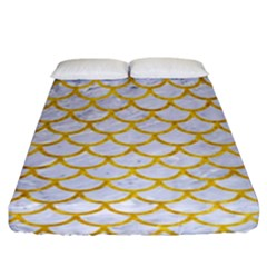 Scales1 White Marble & Yellow Marble (r) Fitted Sheet (king Size) by trendistuff