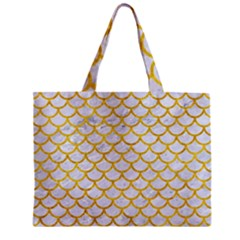 Scales1 White Marble & Yellow Marble (r) Zipper Mini Tote Bag