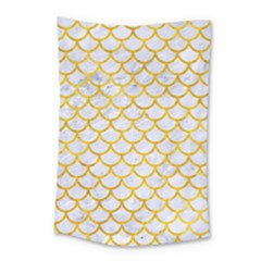 Scales1 White Marble & Yellow Marble (r) Small Tapestry by trendistuff