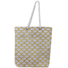 Scales1 White Marble & Yellow Marble (r) Full Print Rope Handle Tote (large) by trendistuff