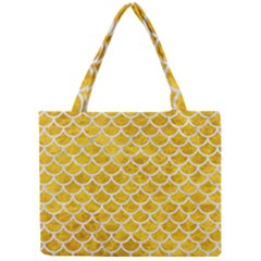 Scales1 White Marble & Yellow Marble Mini Tote Bag by trendistuff