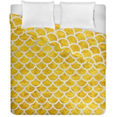 Scales1 White Marble & Yellow Marble Duvet Cover Double Side (california King Size) by trendistuff